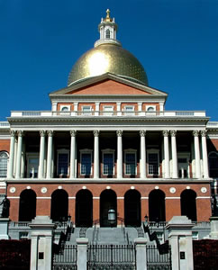 Massachusetts state house entrance