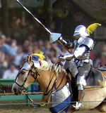 Jouster on horse with lance