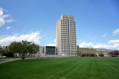 North Dakota state capitol front view