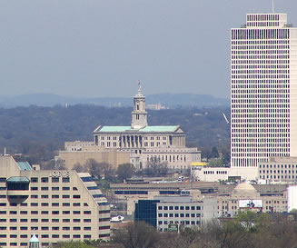 Aerial city view of capitol building in Nashville