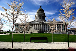 Utah capitol with flowering trees